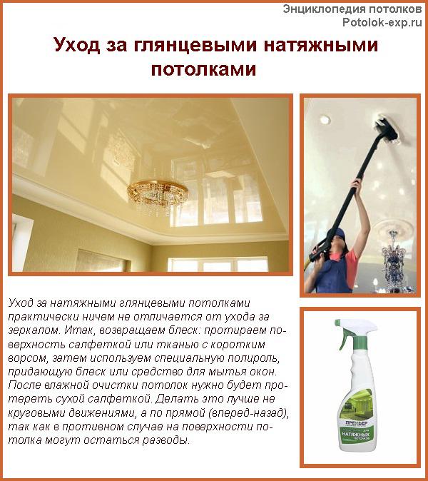 Как ухаживать за глянцевыми натяжными потолками