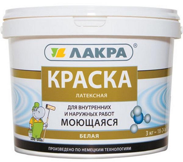 Краска латексная моющаяся белая матовая 14кг ЛАКРА/44