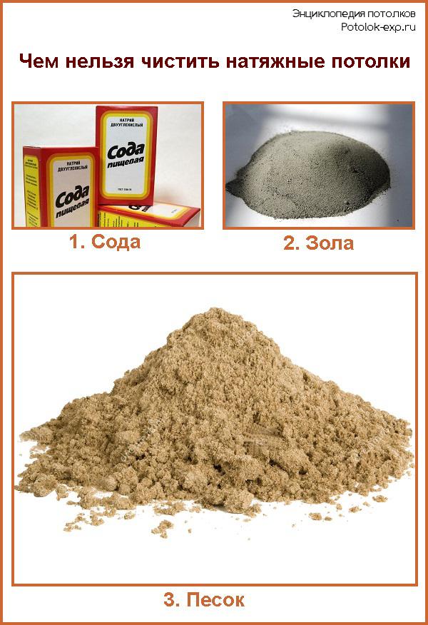 Нельзя использовать для чистки соду, золу или песок