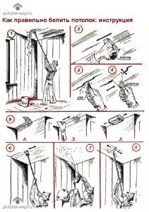 Как правильно белить потолок: инструкция