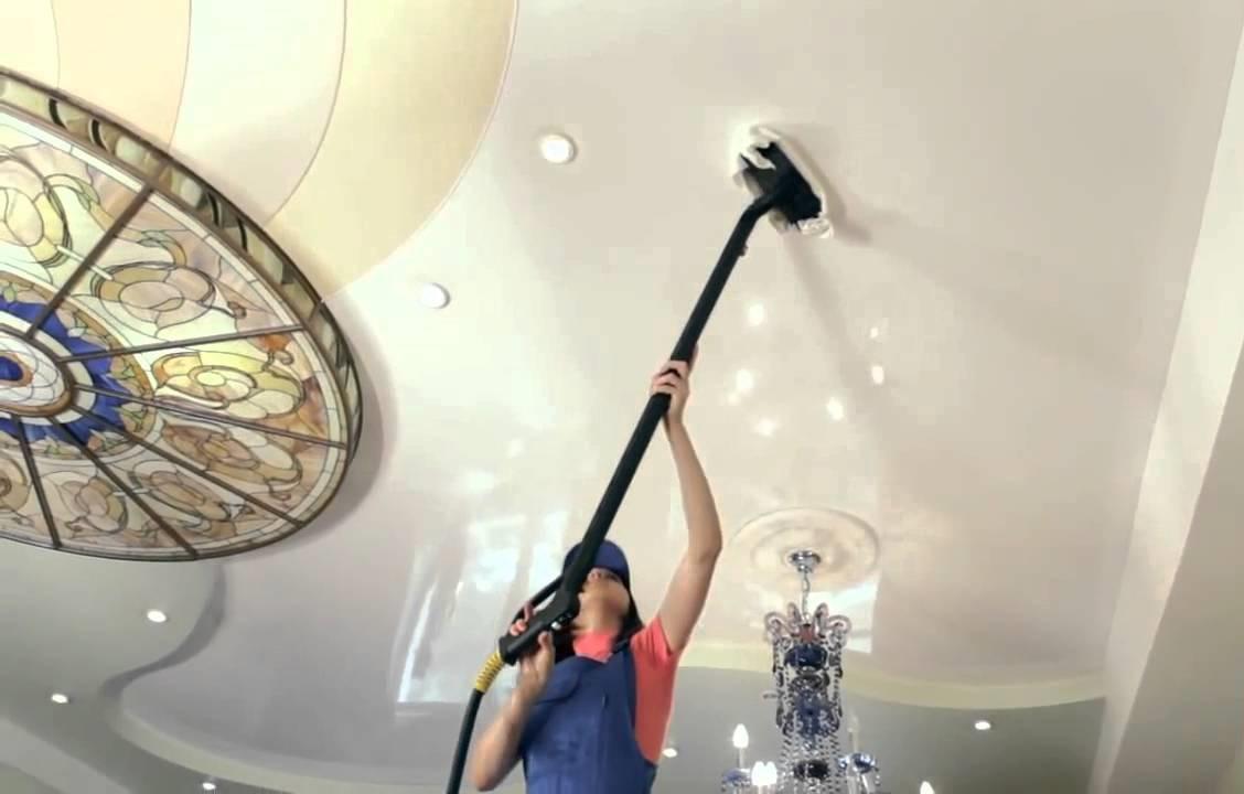 Как ухаживать за натяжными потолками глянцевыми