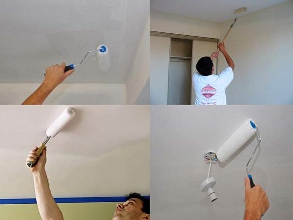 В работе может потребоваться помощник, который будет стоять внизу и оценивать качество покраски, оглядывая потолок под разными углами