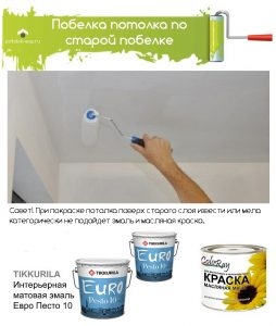 Покраска потолка поверх слоя извести или мела