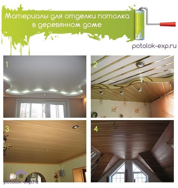 Материалы для отделки потолка в деревянном доме