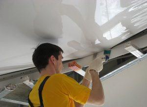 Крепление полотна натяжного потолка