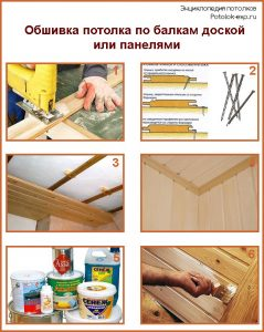 Обшивка потолка по балкам доской или панелями