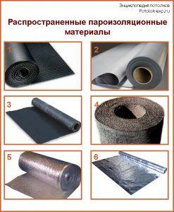 Распространенные пароизоляционные материалы