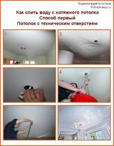 Как слить воду с натяжного потолка при наличии технического отверстия