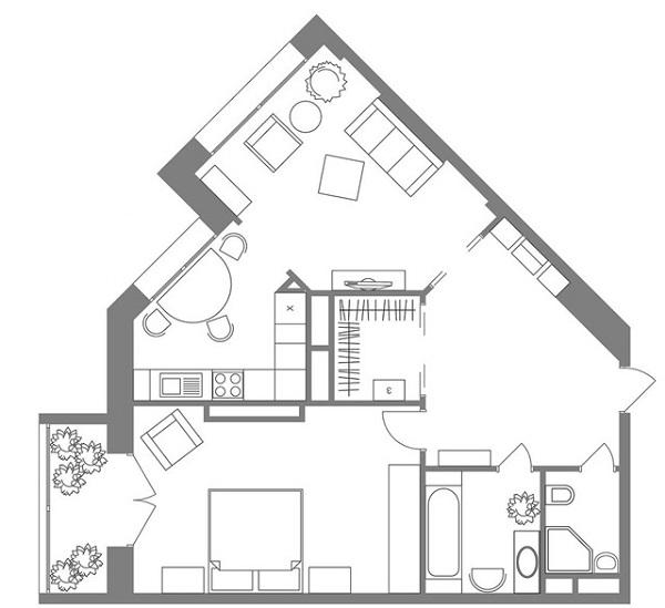 План дома с острыми и внешними углами