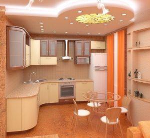 Сатиновый потолок в кухне