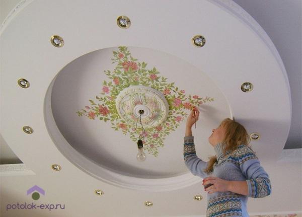 Окрашивание тканевого натяжного потолка