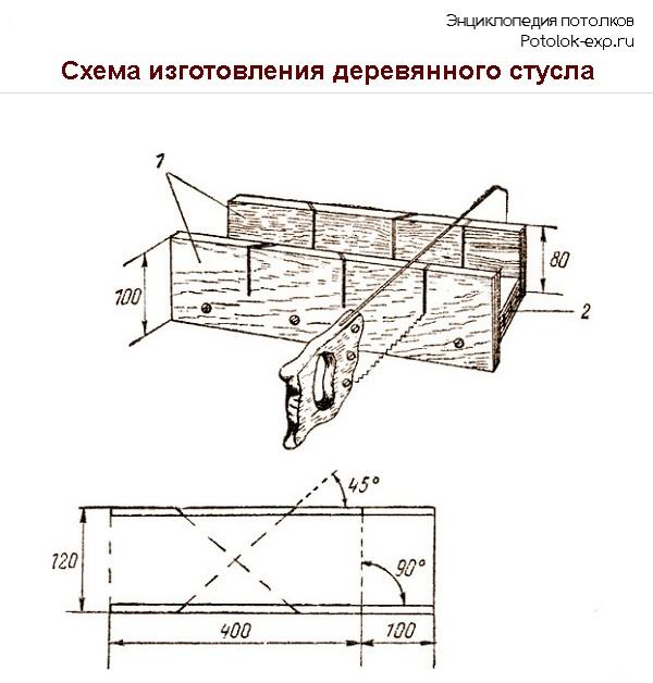 Схема изготовления деревянного стусла