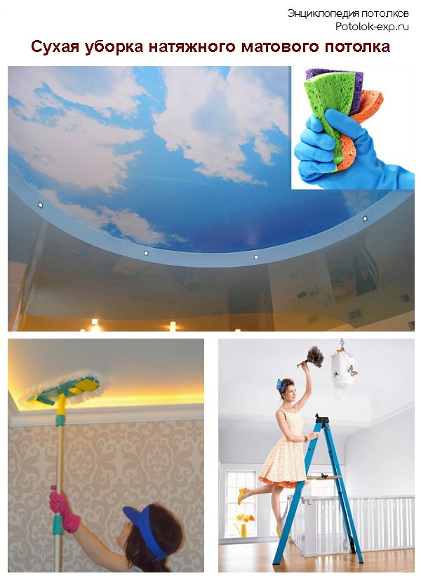 Сухая уборка натяжного матового потолка