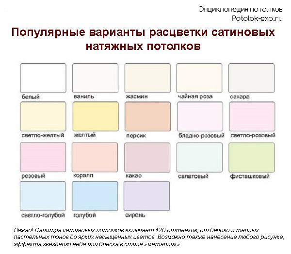 Популярные варианты расцветок сатиновых натяжных потолков