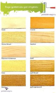 Виды древесины для отделки