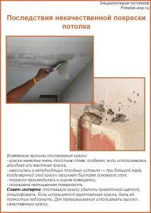 Последствия некачественной покраски потолка