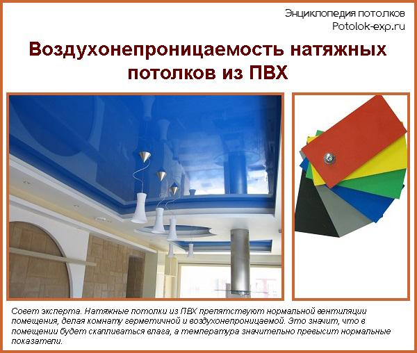 Воздухонепроницаемость натяжных потолков из ПВХ