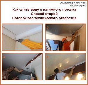 Как слить воду с натяжного потолка без технического отверстия