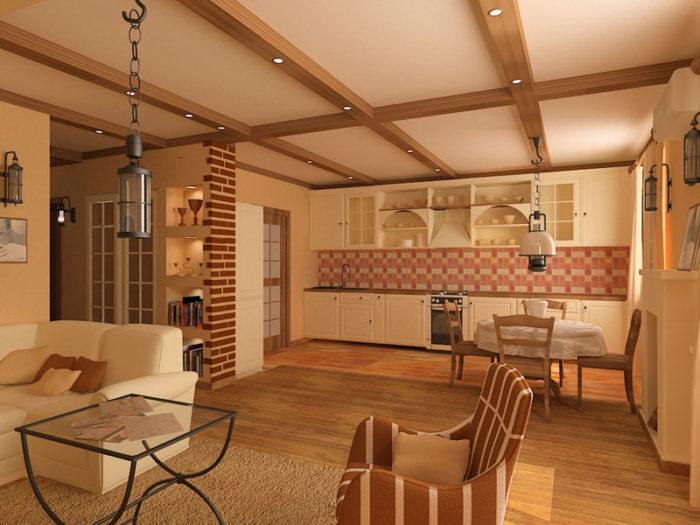 Декоративные потолочные балки с подсветкой