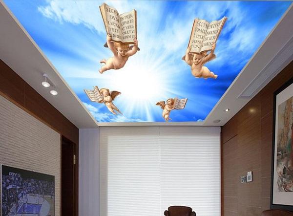 Двухуровневый светящийся натяжной потолок с фотопечатью