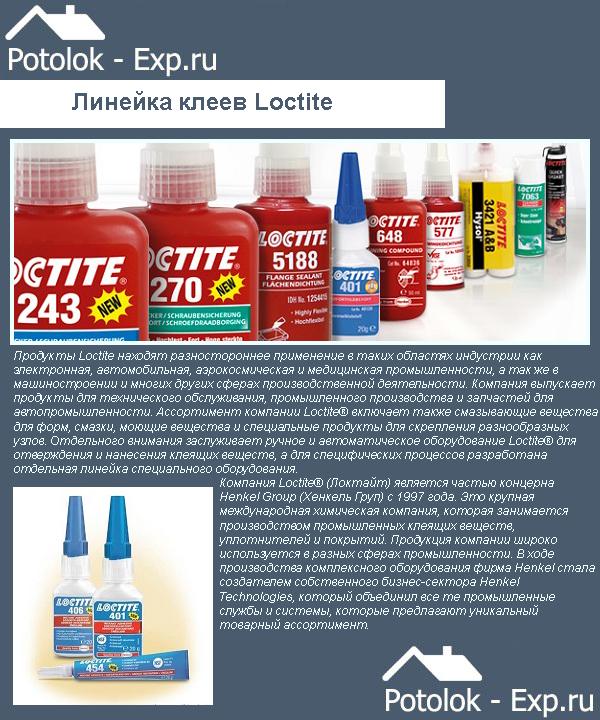 Линейка клеев Loctite