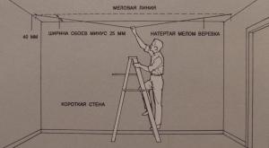 Проведение меловой линии на потолке