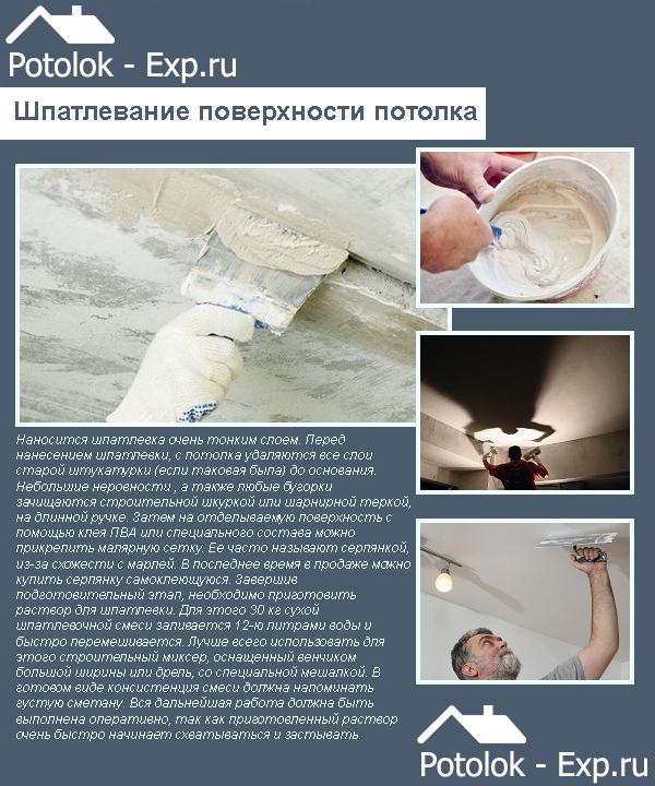 Шпатлевание поверхности потолка