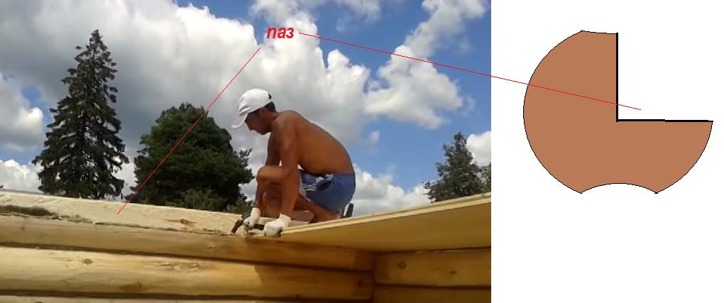 Схема вырубки паза для укладки досок потолка