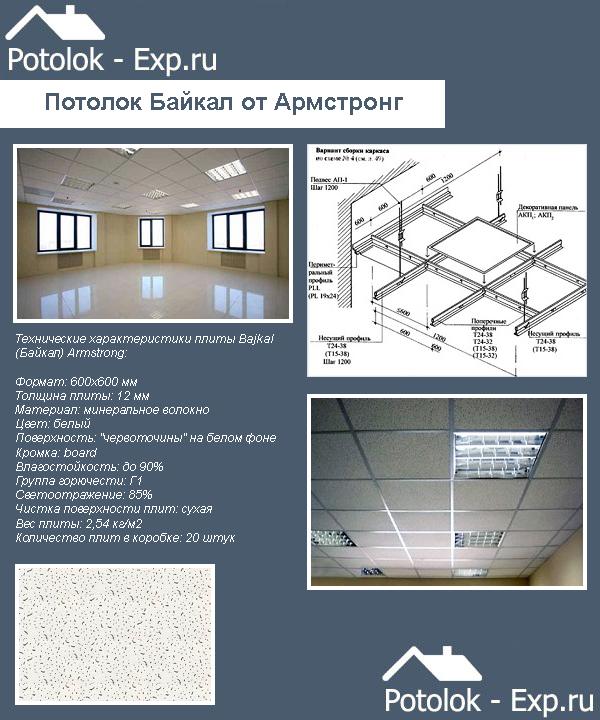 Технические характеристики подвесного потолка Армстронг Байкал