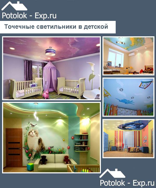 Светильники на натяжном потолке в детской
