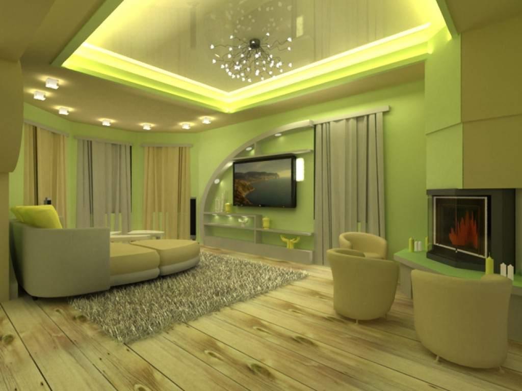 Натяжные потолки оливкового цвета в интерьере фото