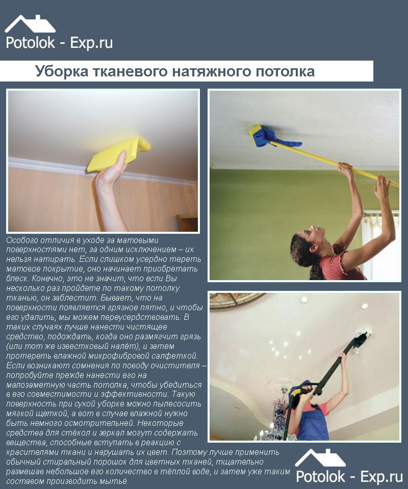 Уход за тканевыми потолками
