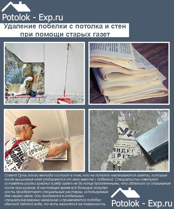 Удаление побелки с потолка и стен при помощи старых газет