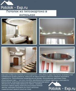 Гипсокартонный потолок в интерьере