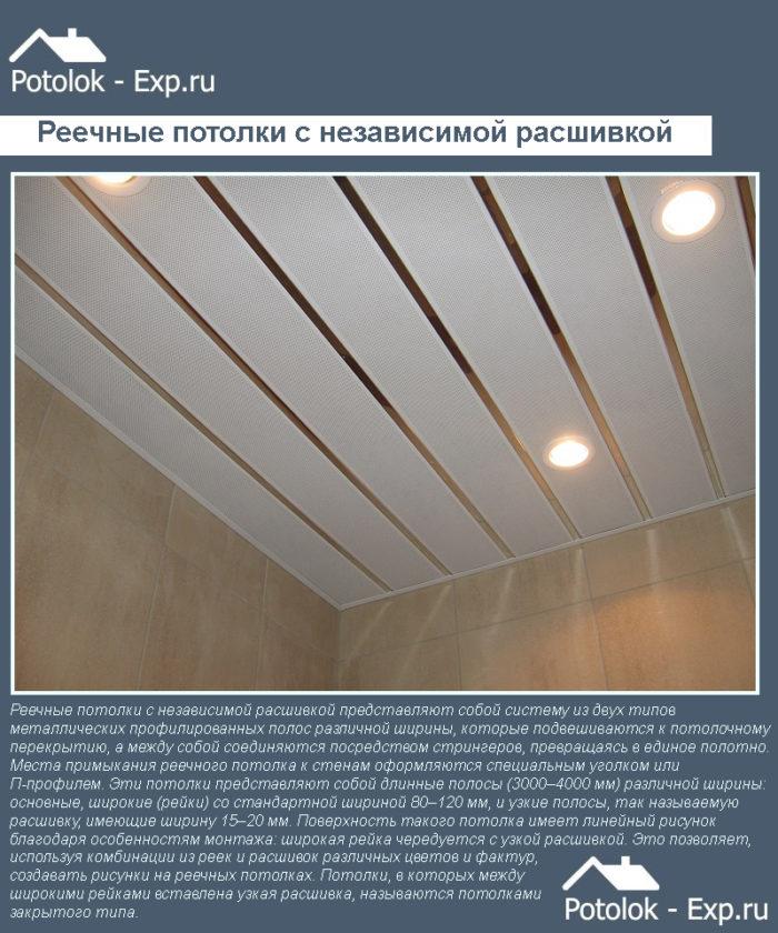 Реечные потолки с независимой расшивкой