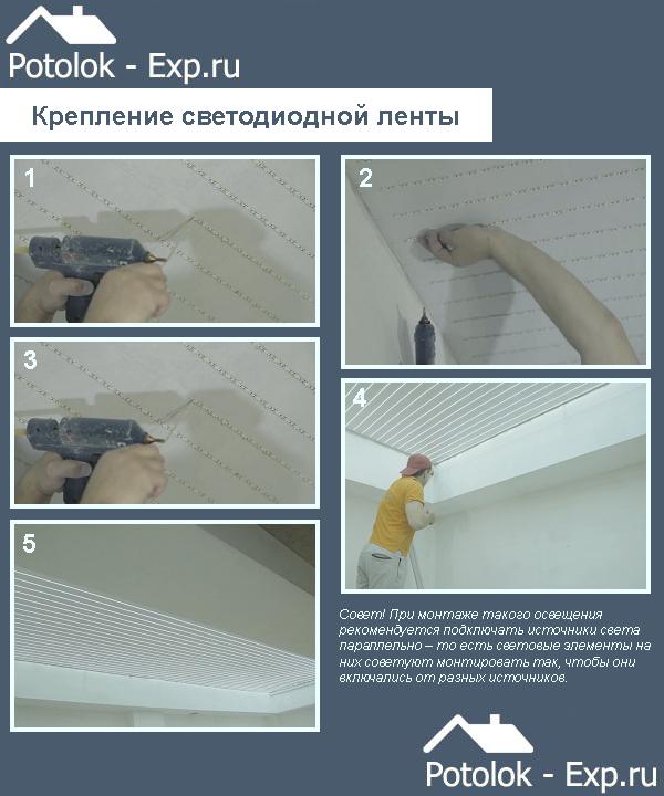 Крепление светодиодной ленты под натяжной потолок