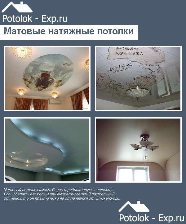 Матовые натяжные потолки в интерьере