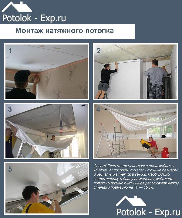 Инструкция по монтажу глянцевого натяжного потолка из ПВХ