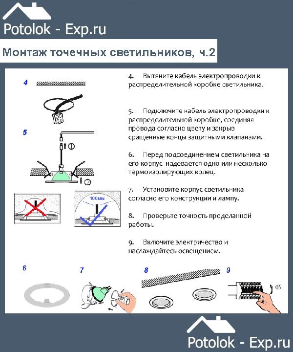 Установка точечных светильников в натяжной потолок, часть №2