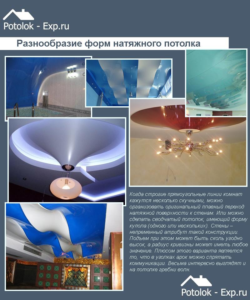 Разнообразие форм натяжного потолка