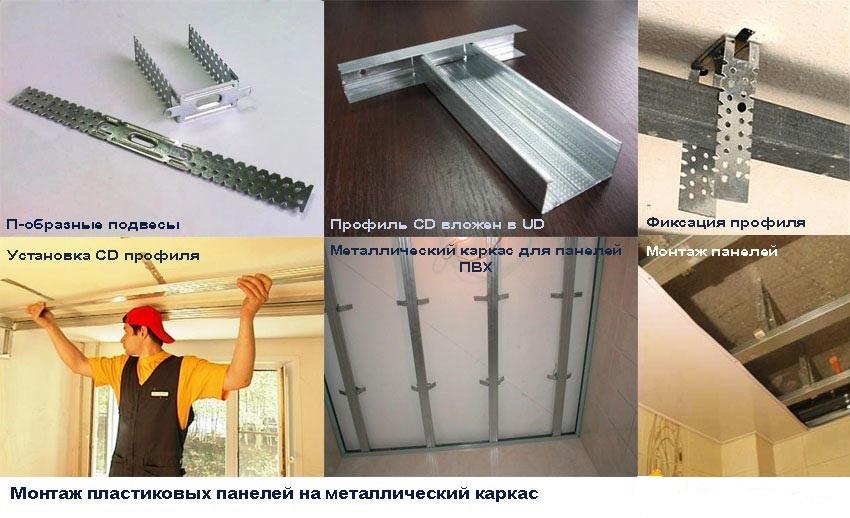 Этапы монтажа потолка из пластиковых панелей