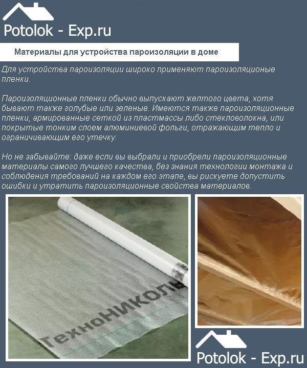 Материалы для устройства пароизоляции в доме