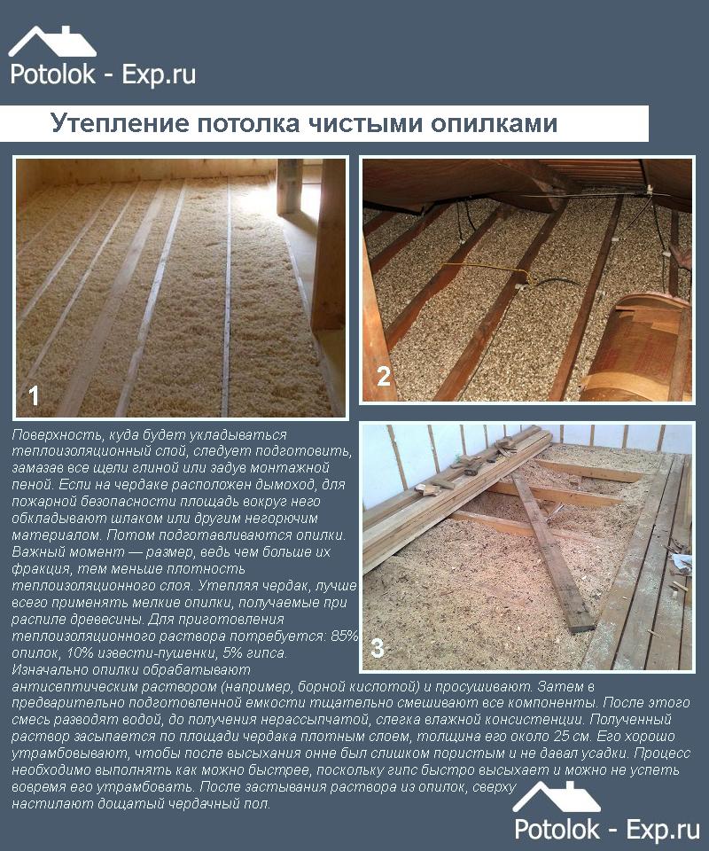 Утепление потолка опилками в частном доме своими руками