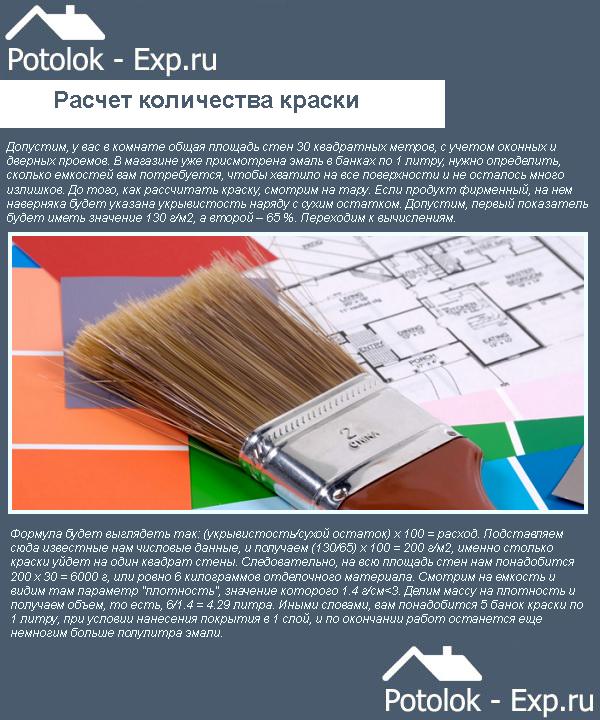 Простой расчет количества краски для потолка