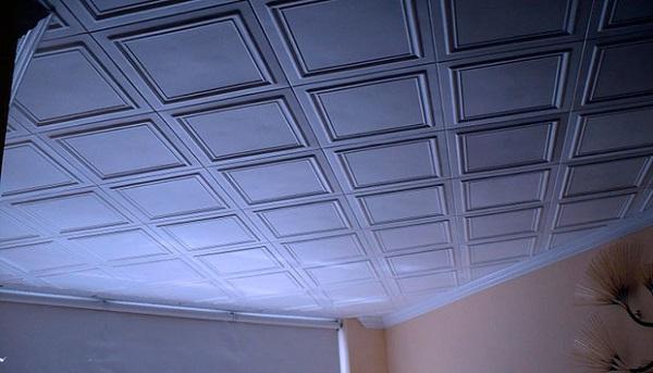 Укладка потолочной плитки ромбом
