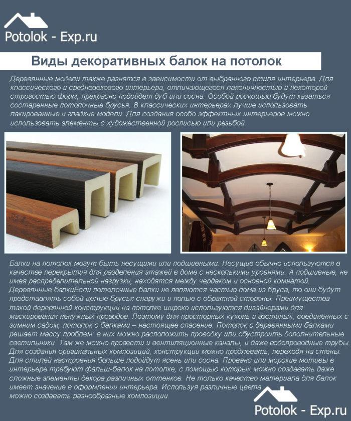 Виды декоративных балок на потолок