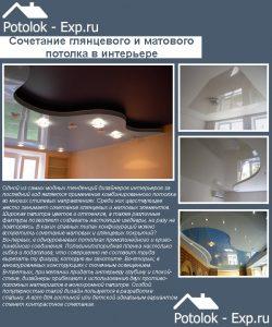 Натяжные потолки: сочетание глянца и мата