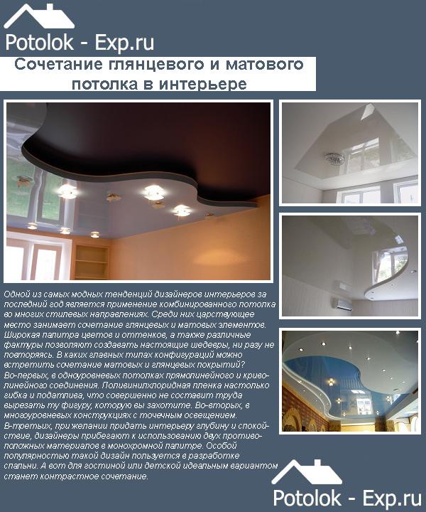 Натяжные потолки: соединение глянца и мата