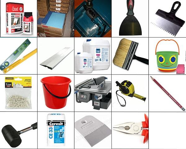 Инструменты и материалы для укладки потолочной плитки