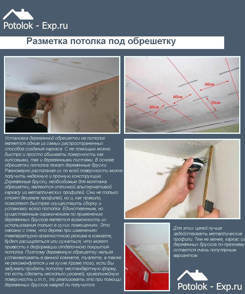 Разметка потолка под обрешетку